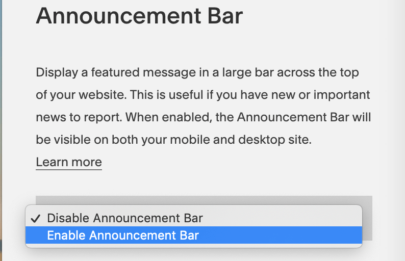 Follow these steps to enable your announcement bar on Squarespace - Squarespace Tips