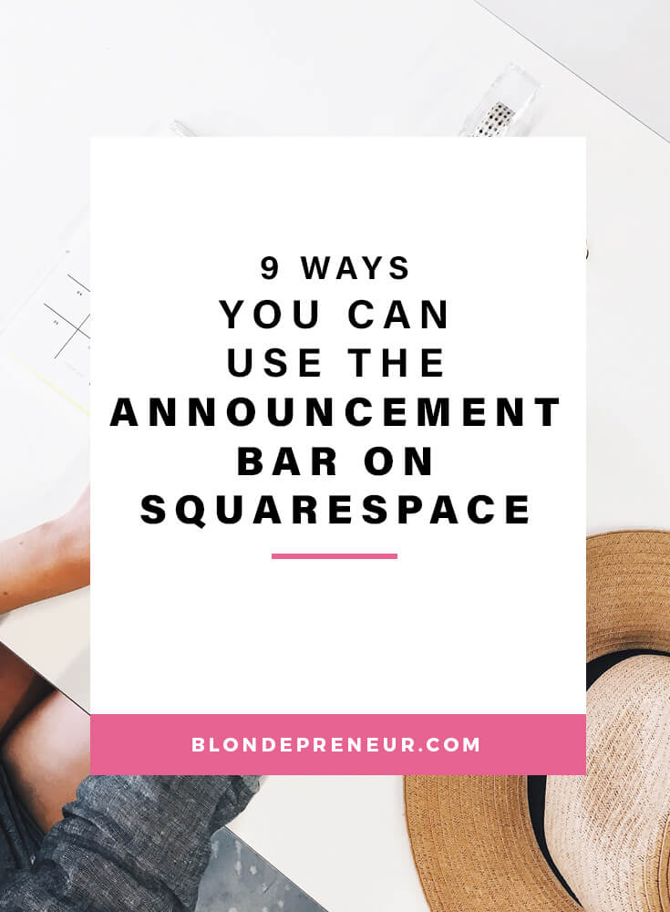 Learn 9 different ways you use can the announcement bar feature on your Squarespace website. They are great for growing your email list or social media, promoting products, and many more! #squarespace #squarespacetips