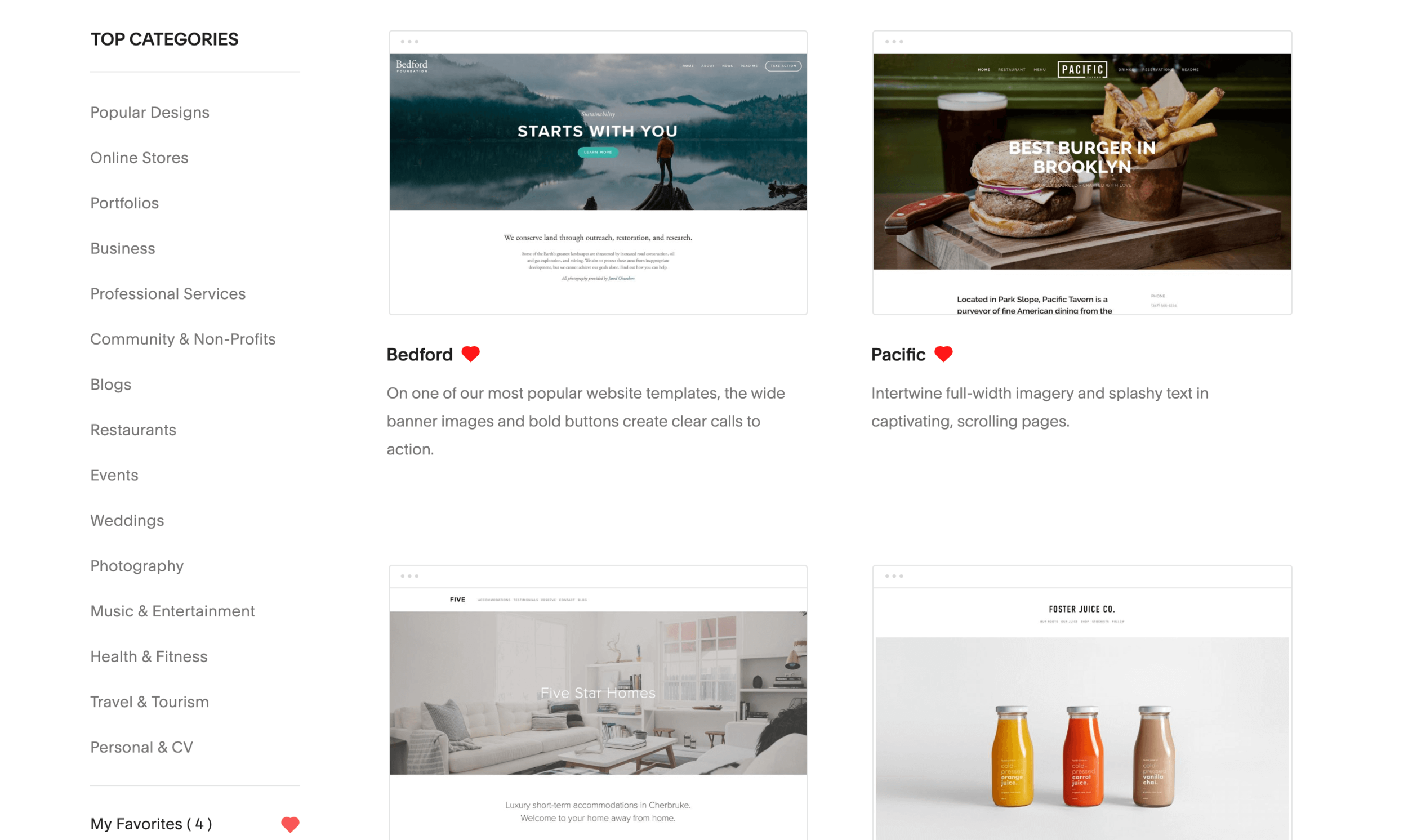 Squarespace templates are simple, clean, modern, and professional