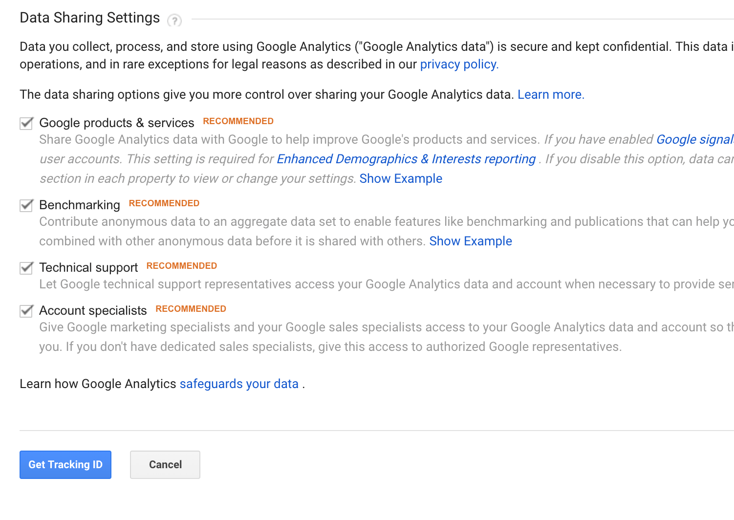 Google Analytics data settings