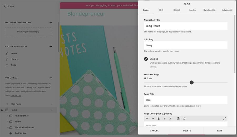 Choose your blog settings
