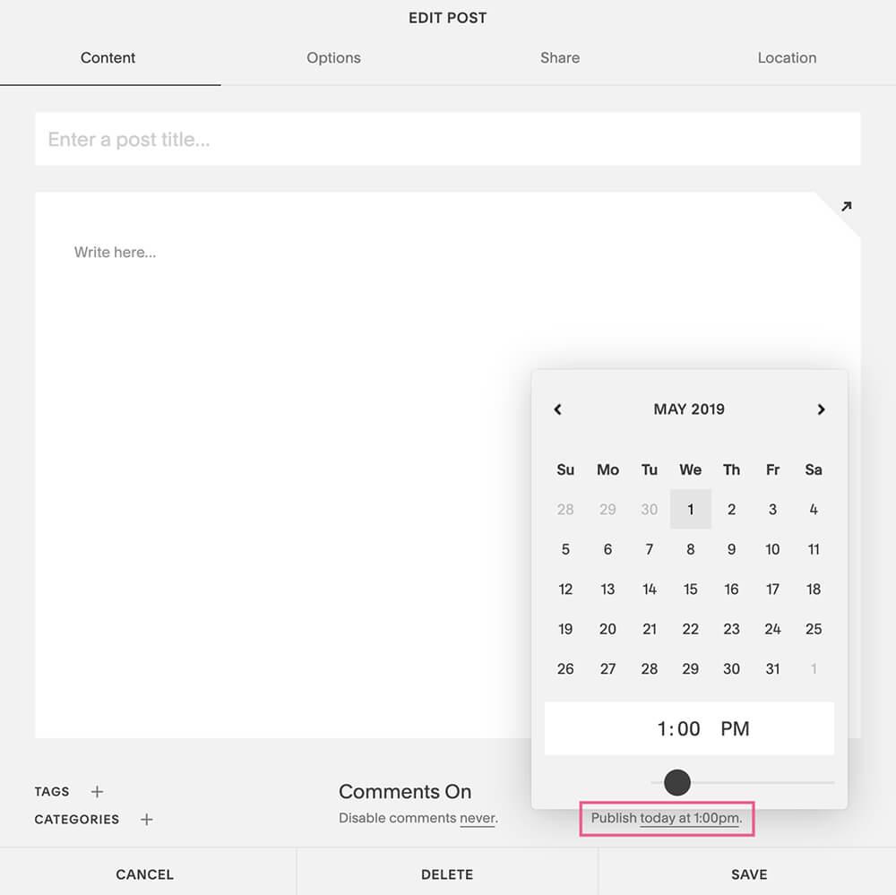 Set your publish date