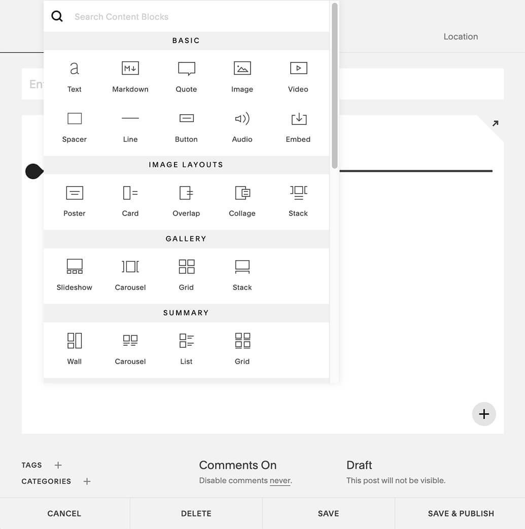 Design your blog post on Squarespace