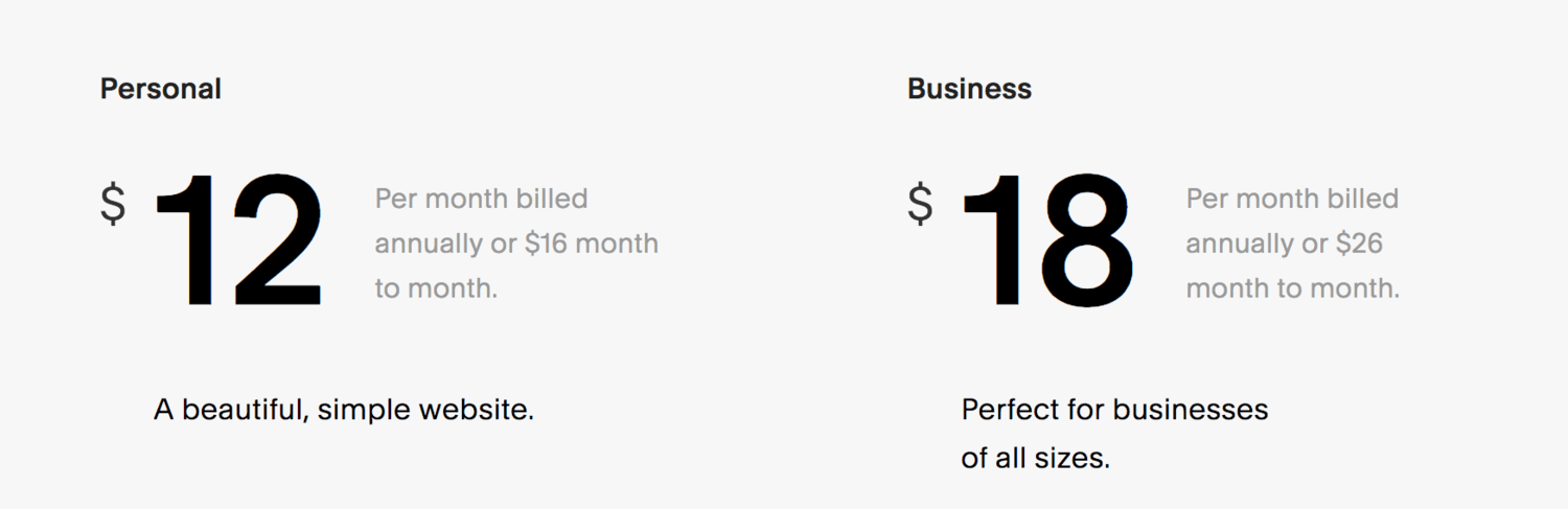 Squarespace website pricing plans for bloggers