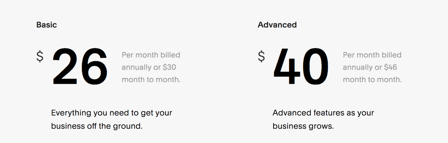 Squarespace pricing plans for e-commerce
