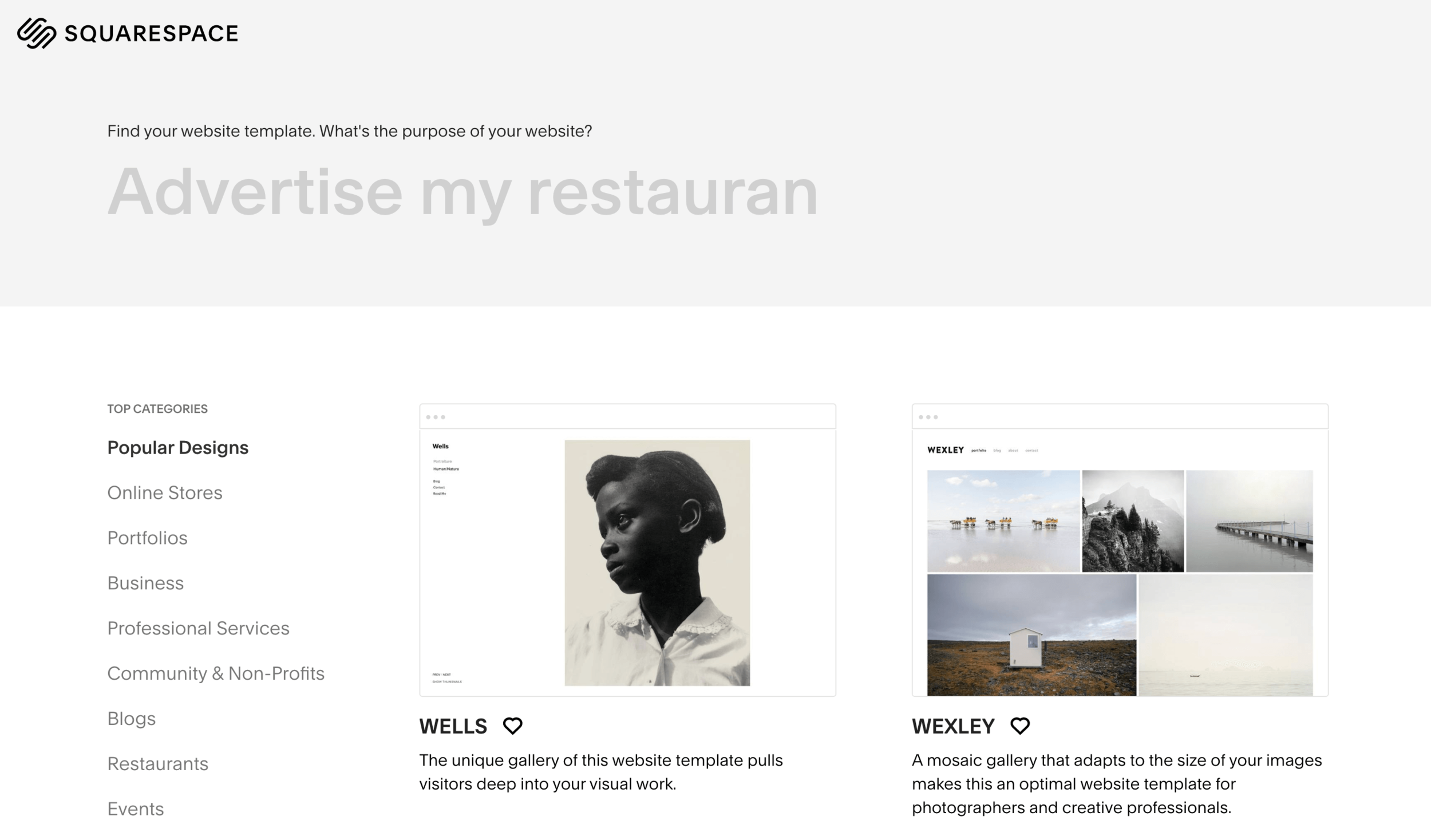 You can browse all of Squarespace's templates in the template store - all templates are free