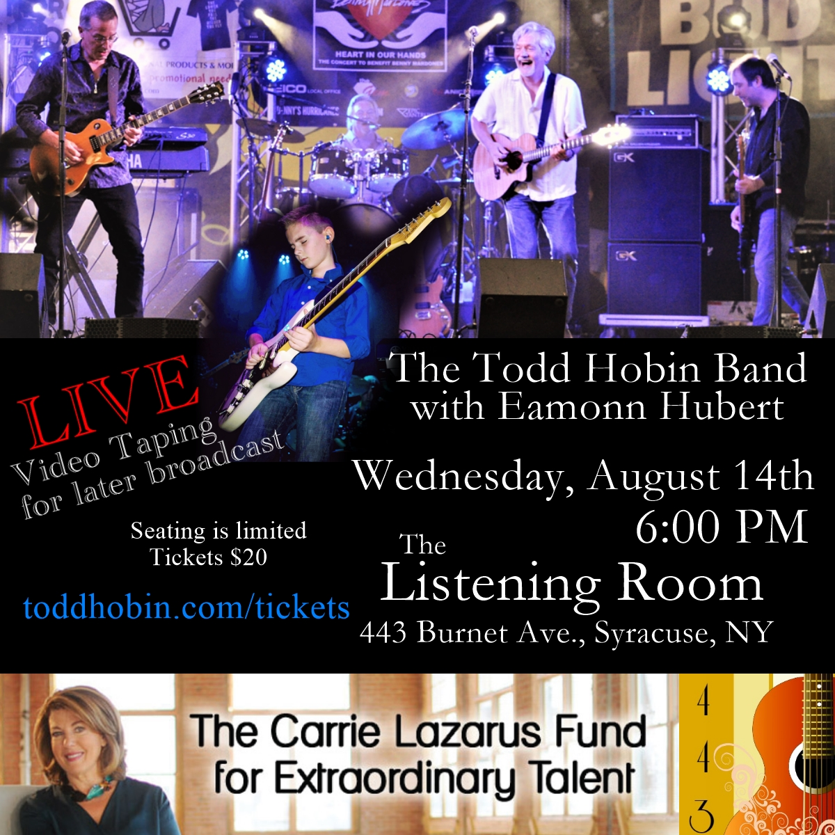 Eamonn Hubert will be performing with the Todd Hobin Band.