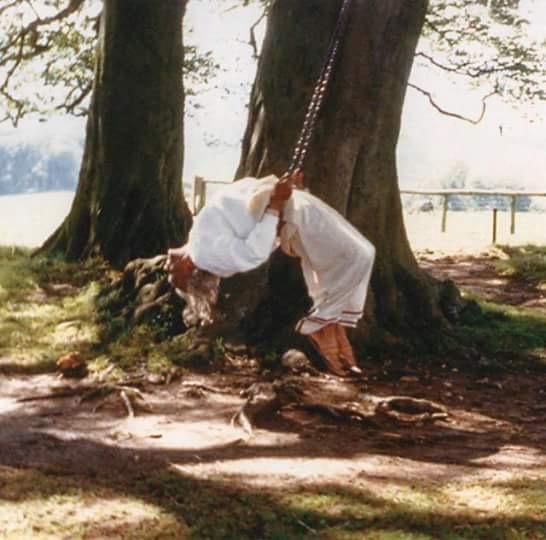 BKS Iyengar enjoying a yoga swing