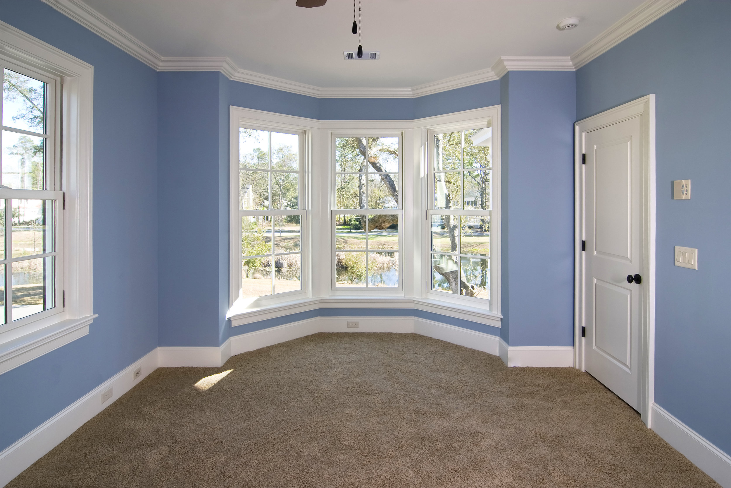 Decorative crown molding makes an especially dramatic change to a room which it's in white and the walls are a rich colour.