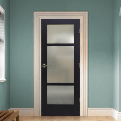 This gorgeous door can be found at Lowes. It makes a great door for a bathroom or office.