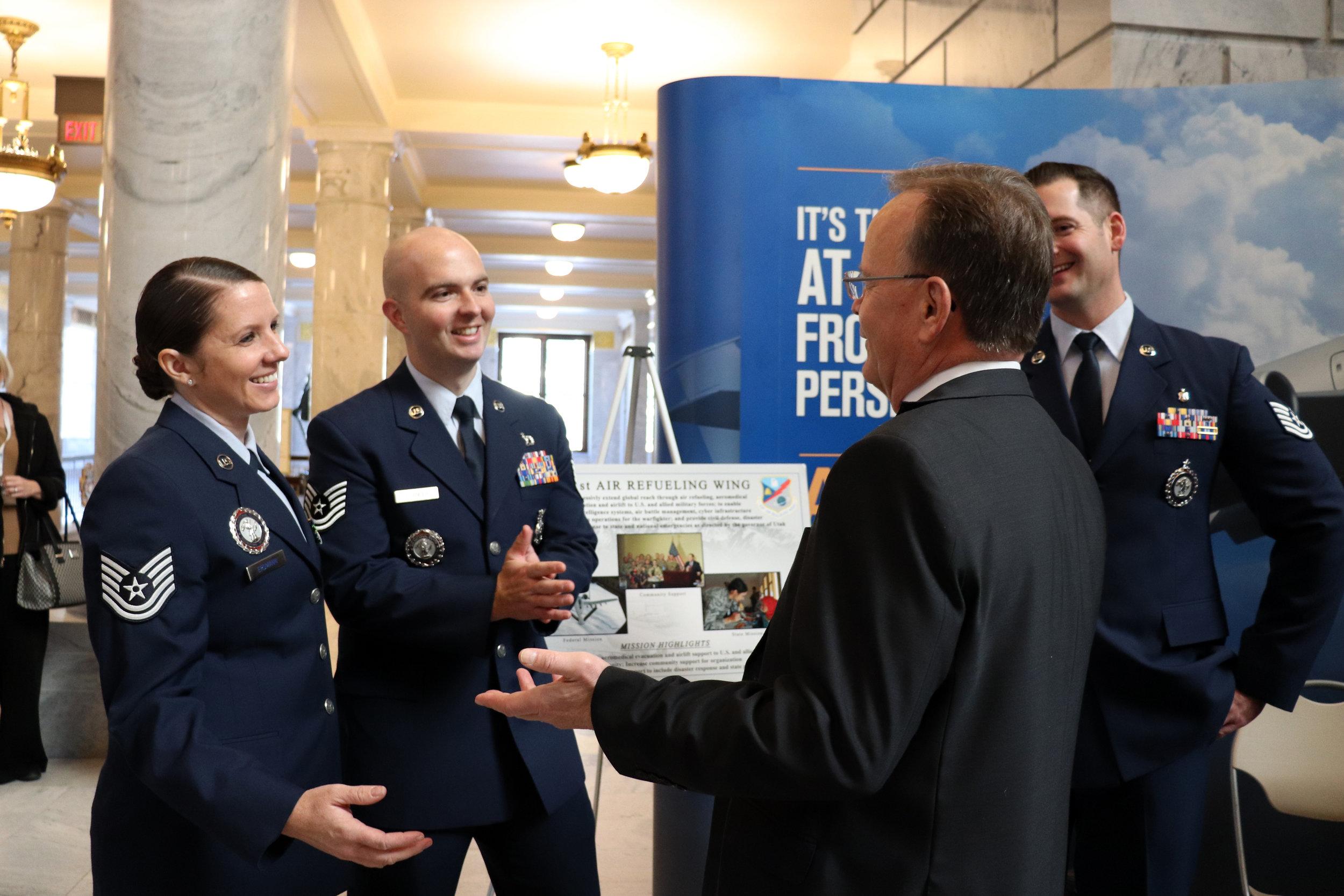 President Stuart Adams meets with members of the Utah Air National Guard.