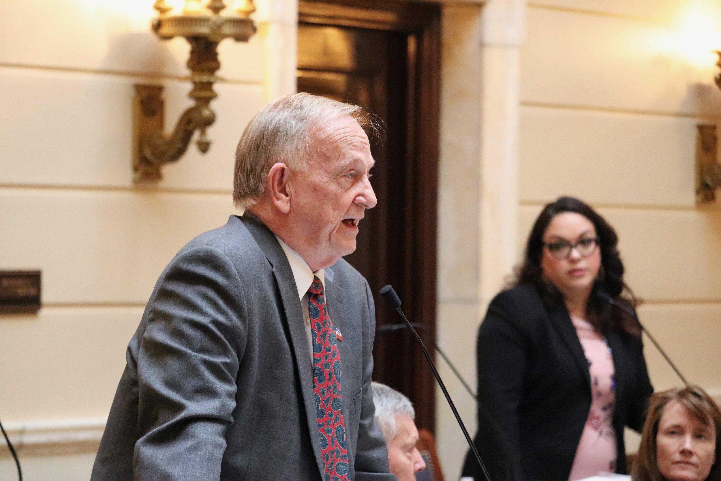 Sen. Allen Christensen on the Senate floor.