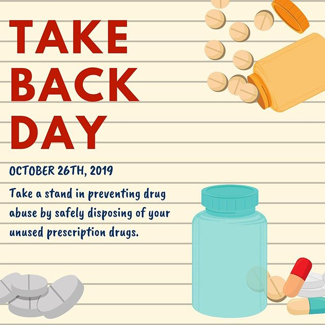 National Prescription Drug Take Back Day is Saturday, October 26. Participate in Take Back day through disposing of your unused, unwanted or potentially dangerous prescription drugs at select collection sites, you can help our state take steps in addressing our growing opioid epidemic.  Did you know? – Drug overdose deaths are the leading cause of accidental death, surpassing deaths caused by firearms, falls and motor vehicle crashes. – Utah has ranked the top 10 in the nation for overdose deaths in the last decade. – The majority of the 9.9 million Americans who have misused prescription drugs say they obtained the drugs from the home medicine cabinets of friends and family. – In the last three years, 90,000 pounds of medication have been collected.  Don't become an accidental dealer; do your part in helping Utah work to solve the opioid crisis. See a list of collections sites here: http://bit.ly/31I6NSZ. #utpol #TakeBackDay