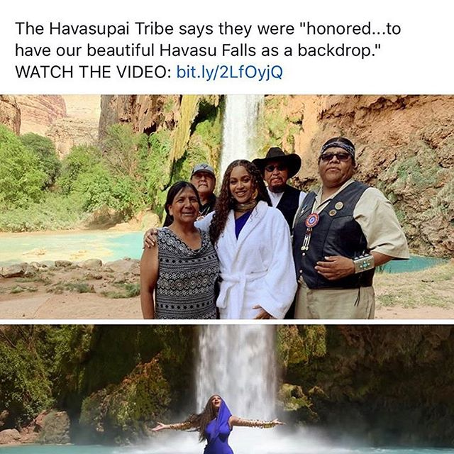 """At the bottom and top of the Grand Canyon in Arizona is the Havasupai tribe and they welcomed @beyonce to film her newest music video """"Spirit"""" from the sound track of the movie @lionking We are honored that Beyoncé will go to the Havasupai people and use the beautiful lands as her backdrop. Beyoncé who is a descendant of Native Americans from Louisiana shows that she's always using her platform to bring awareness of Indigenous Peoples globally. #beyonce #beyonceontherez #ipm #indigenouspeoplesmarch"""