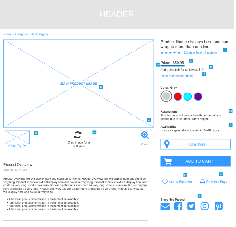 Wireframe for the Product Detail Page -