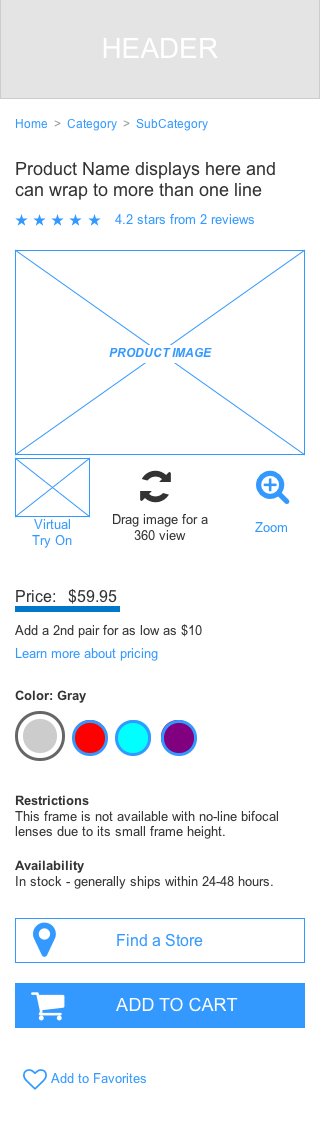 Mobile Wireframe – Product Detail Page -