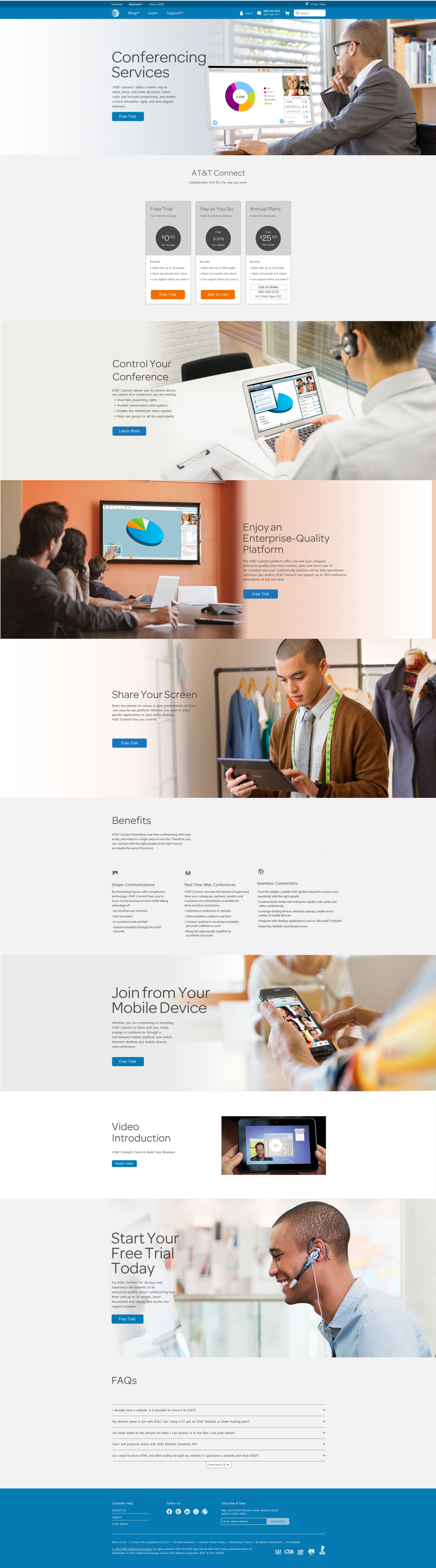 Entire Comp for the Conferencing Services page - (created by the Visual Designer)