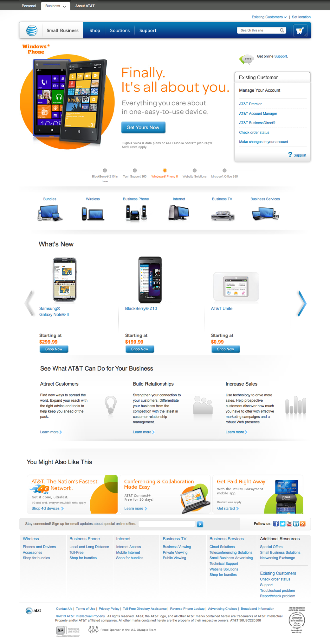 Home page after launch -