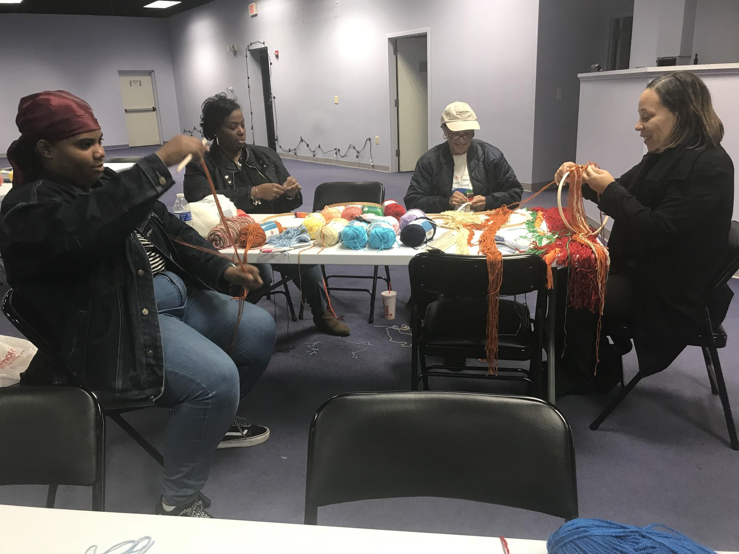 "Creative Saturday Visual Arts Workshop, ""Wall Hanging"", Instructed by Suitland CVPA student Martia Thomas, 12/1/18"