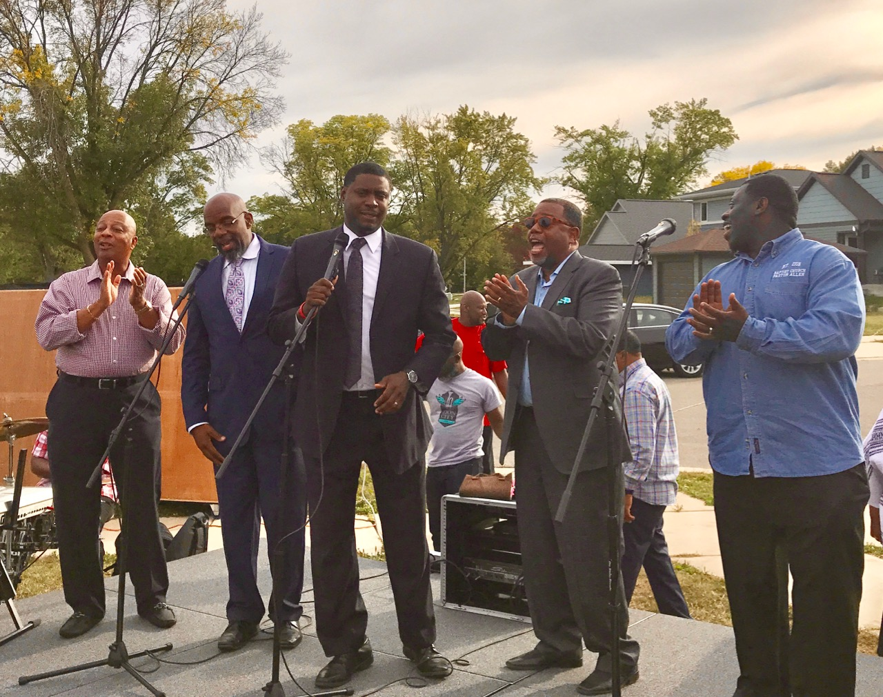 Rev. Marcus Allen (right) with other members of the African American Council of Churches at their Praise in the Park at Allied Drive in 2017.