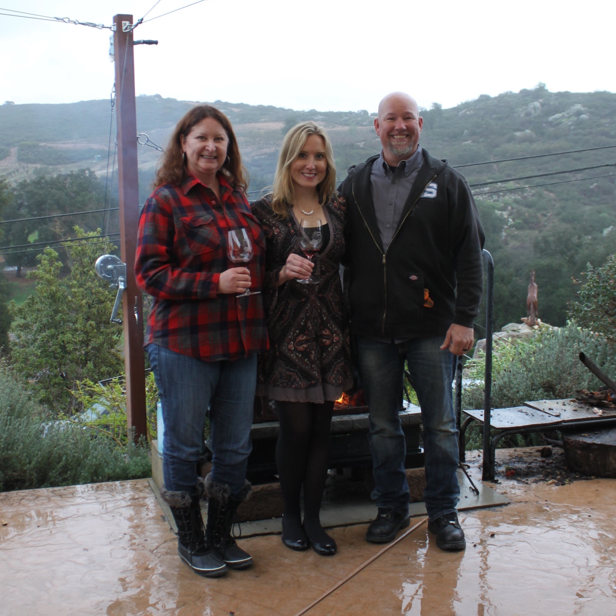 Ramona Ranch Vineyard and Winery owners Teri Kerns, left, and Micole Moore, right, with Veritas Consultants owner Meghan Vergara.  Photo by Charlene Pulsonetti
