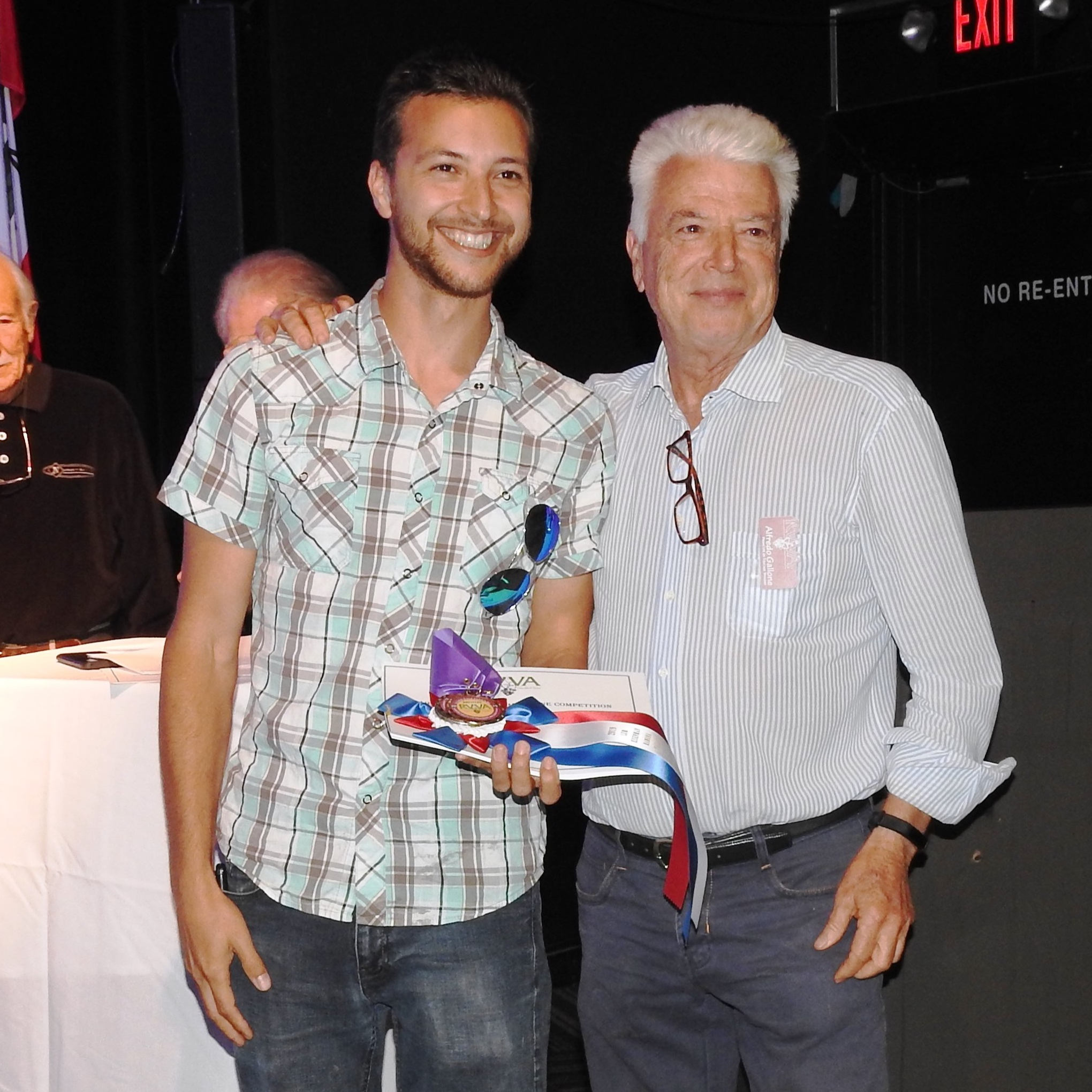 Alfredo Gallone of Principe de tricase Winery, right, pictured with his son Alessandro Gallone, won best of show in the commercial winemaker category.   Photo Courtesy of Ramona Valley Vineyard Association