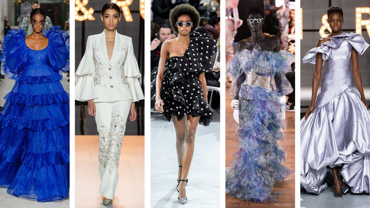 Left to right: Valentino, Ralph & Russo, Alexandre Vauthier, Balmain, Ralph & Russo