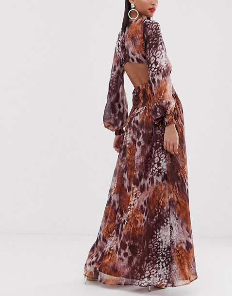 ASOS DESIGN maxi dress with smocking detail in mixed animal print.jpeg