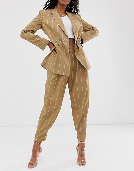 ASOS DESIGN Tall camel stripe suit blazer with popper fastening.jpg