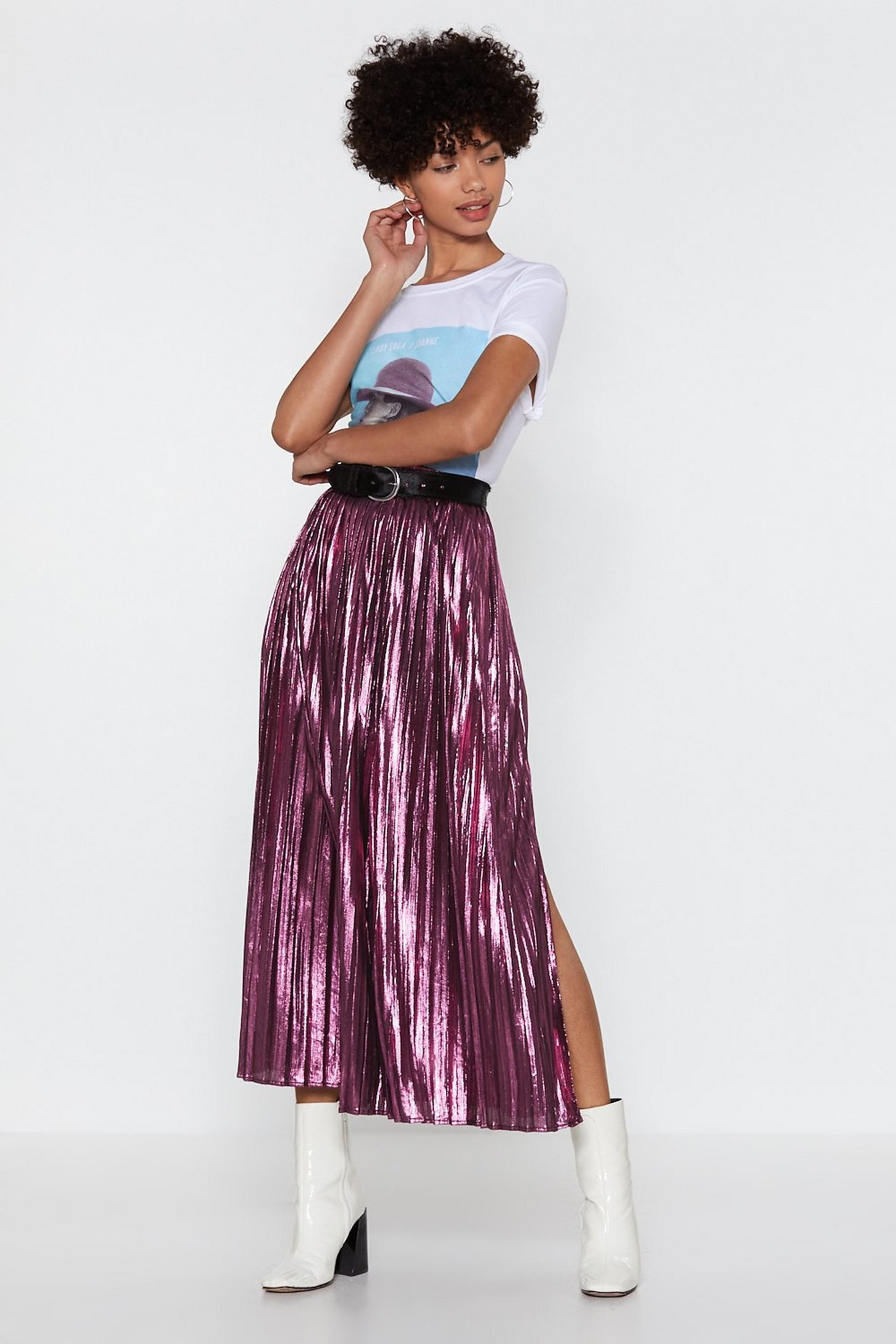 Nasty Gal The Pleat is On Metallic Skirt.jpg