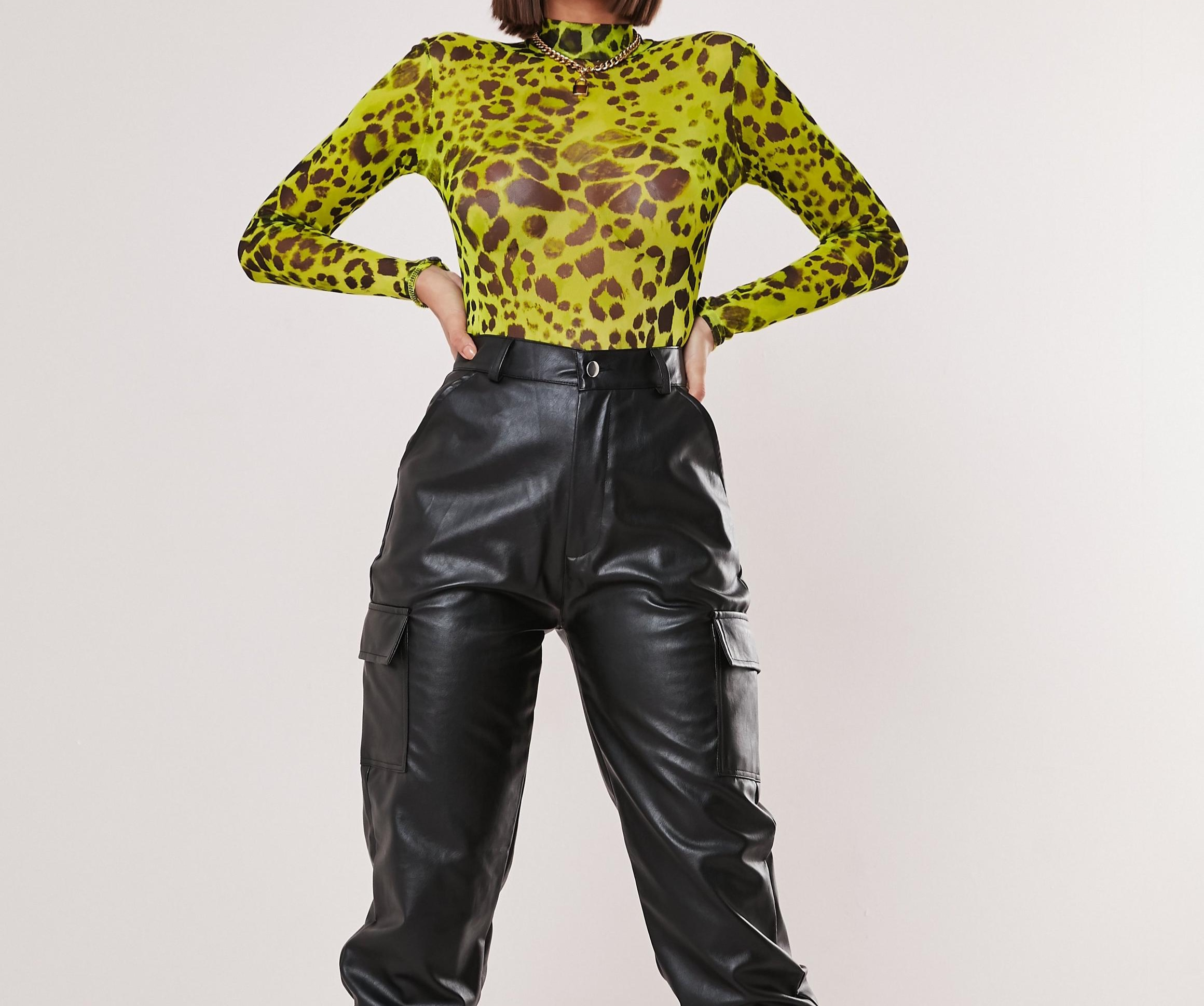 MISSGUIDED petite lime high neck leopard bodysuit .jpg