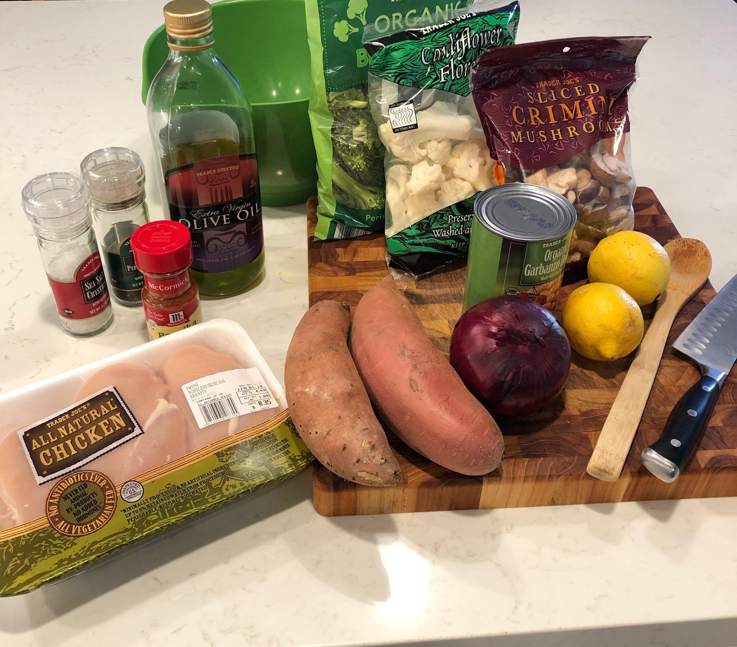 Ingredients for Shem's One Sheet Pan Dinner