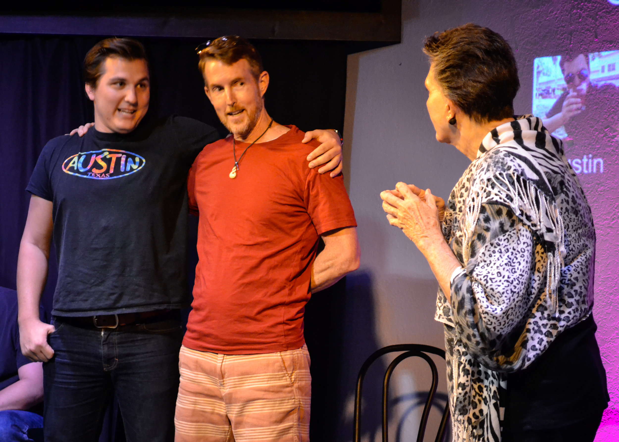 Austin Culp performing with Doug Harwood and Tricia Christen-Rivas in Whose Line St Pete.