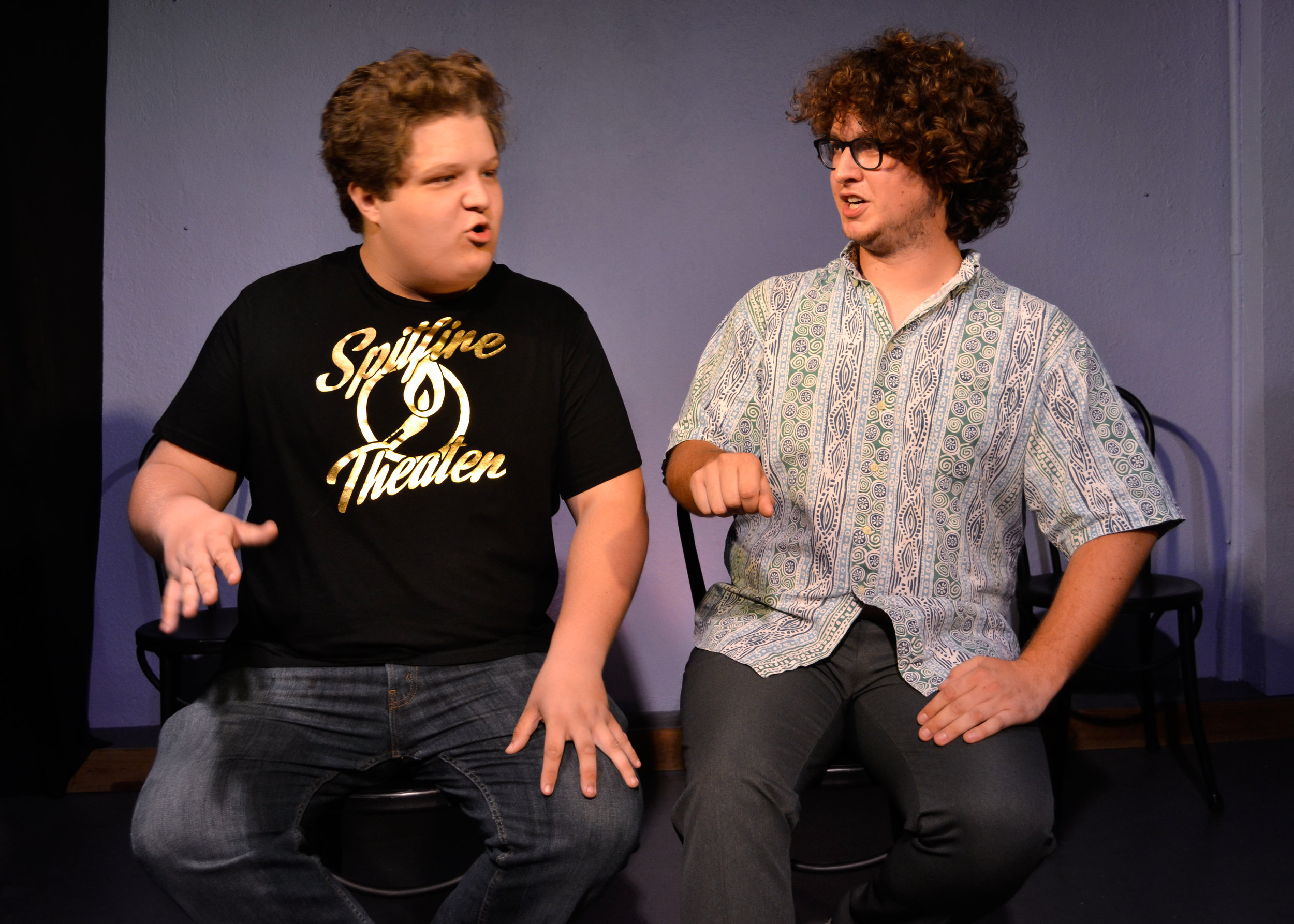 Cameron Abernathy and Matt Peteranecz performing in the Five Dollar Comedy Hour.