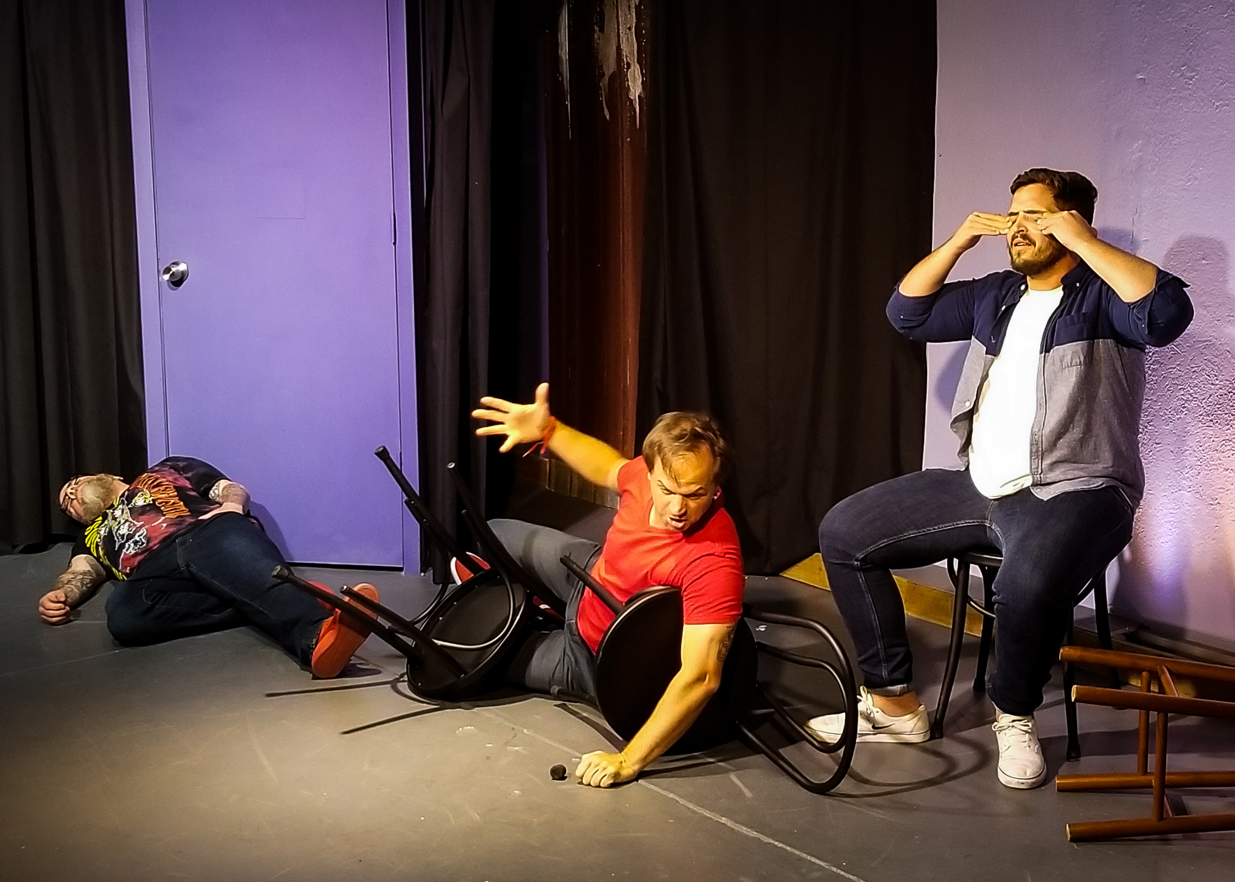Craig Lawrence as ambien, Chad Zeller as cocaine, Andrew Bekas as LSD, and Michael Shurtz as salvia. You can watch the full scene  here , starting at 39:45.