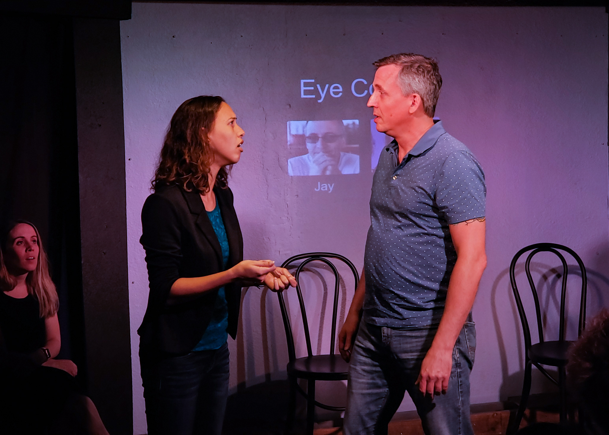Gabbi and Jay playing Eye Contact in Whose Line St Pete.