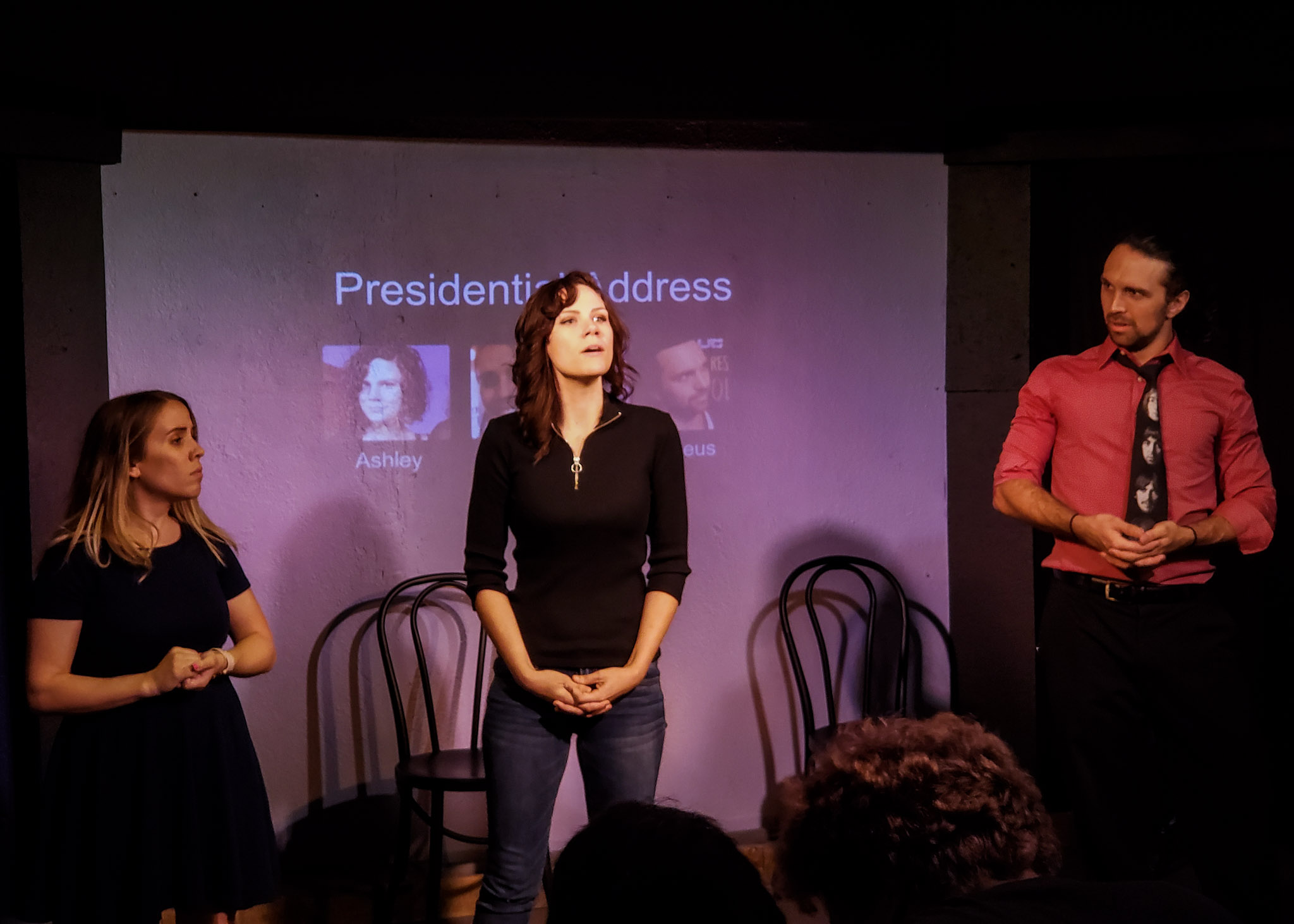 Ashley playing Presidential Address with Mary and Amadeus in Whose Line St Pete.