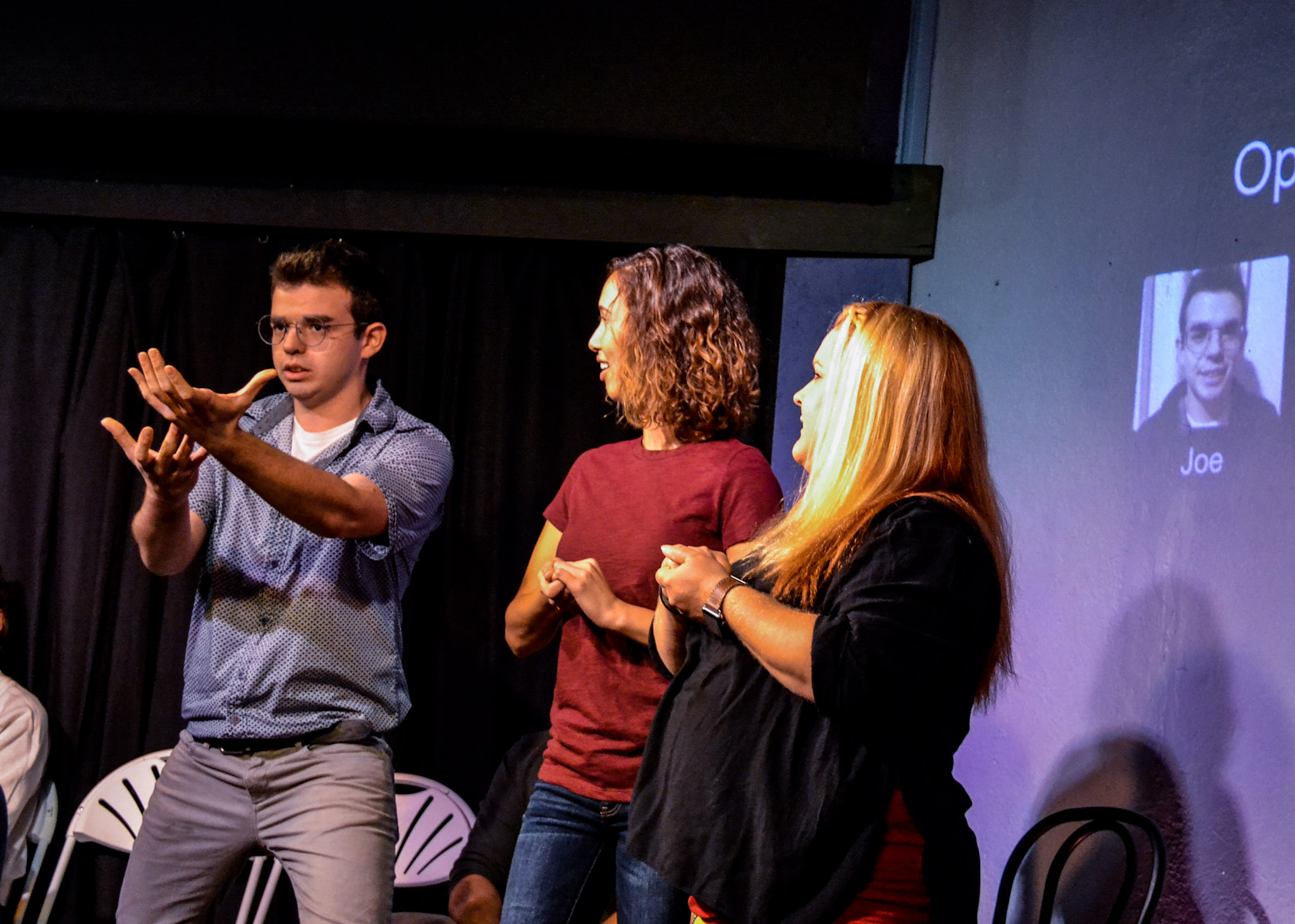 Joe playing Opera Singer with Gabbi and Angela in Whose Line St Pete.