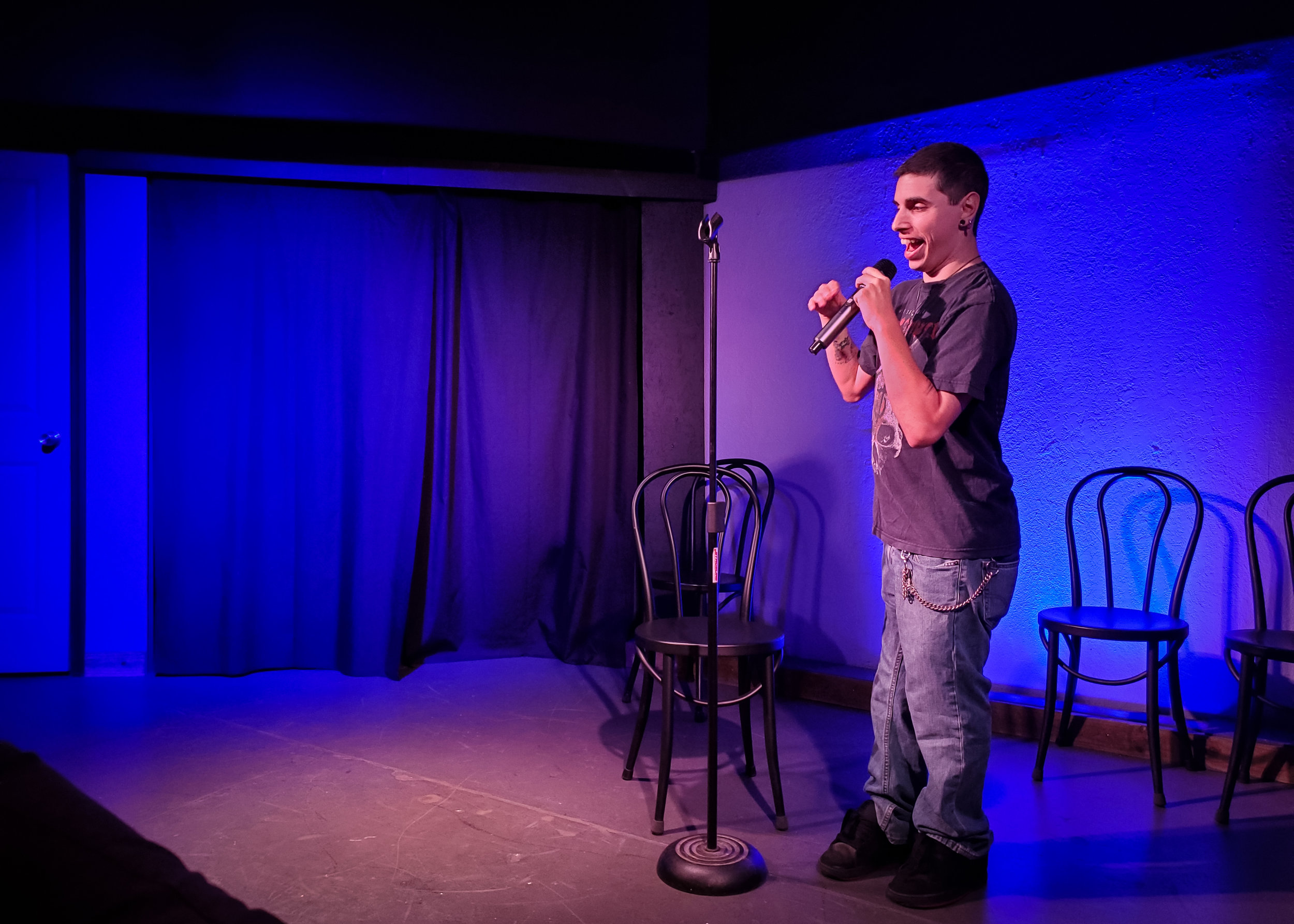 Jonathan performing at Spitfire's Stand Up Open Mic.