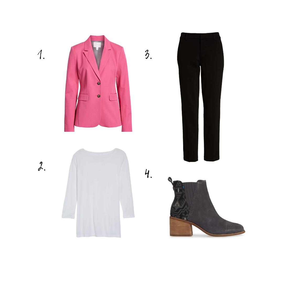 Outfit Details - 1. Blazer2. Top3. Slacks4. Booties