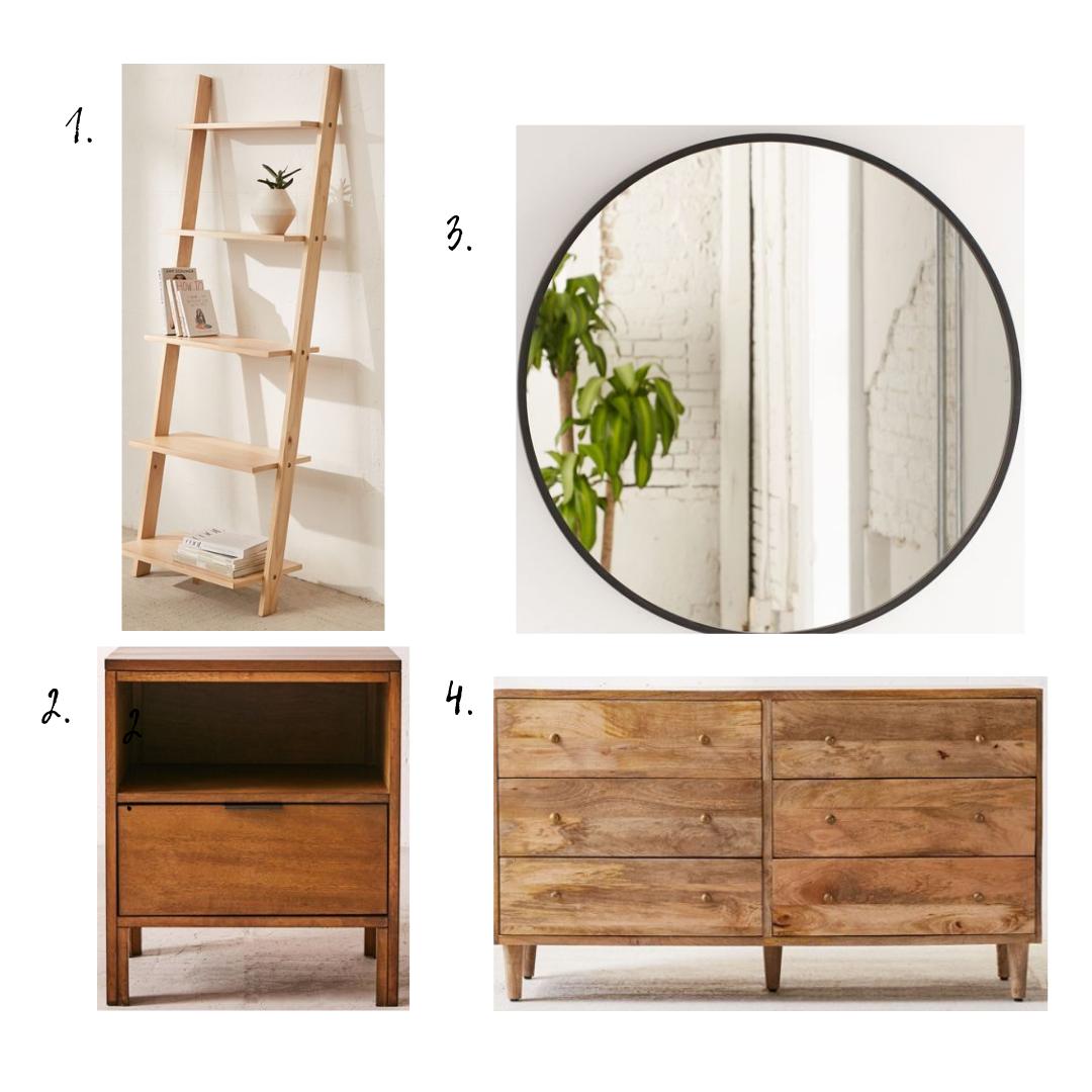 Furniture details - 1. Bookshelf2. Nightstand3. Mirror4. Dresser