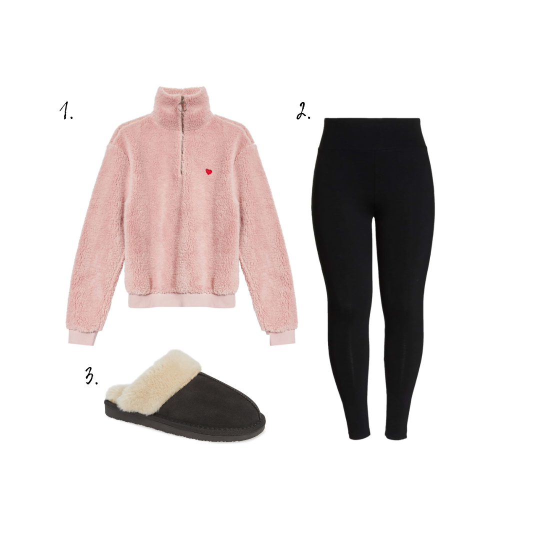 Outfit Details - 1. Sweatshirt2. Leggings3. Slippers