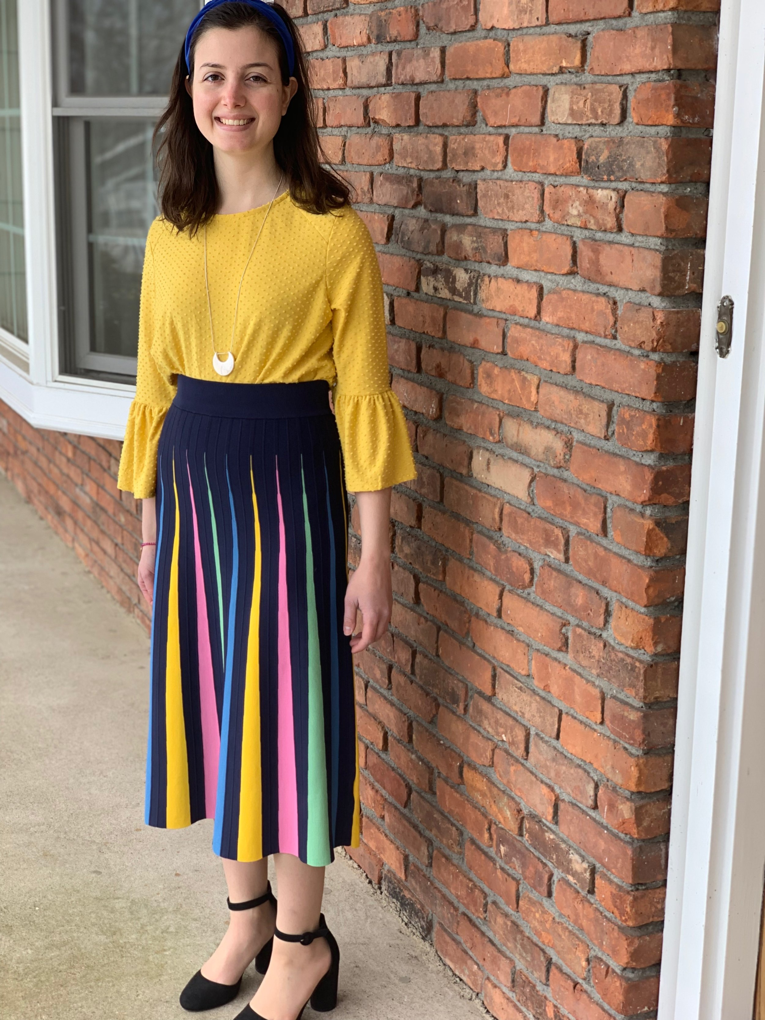 oUTFIT DETAILS - 1. Anthropologie: headband (from last summer, can't find the link anymore) and skirt2. TJ Maxx: shirt3. Target: necklace4. Kohl's: shoes