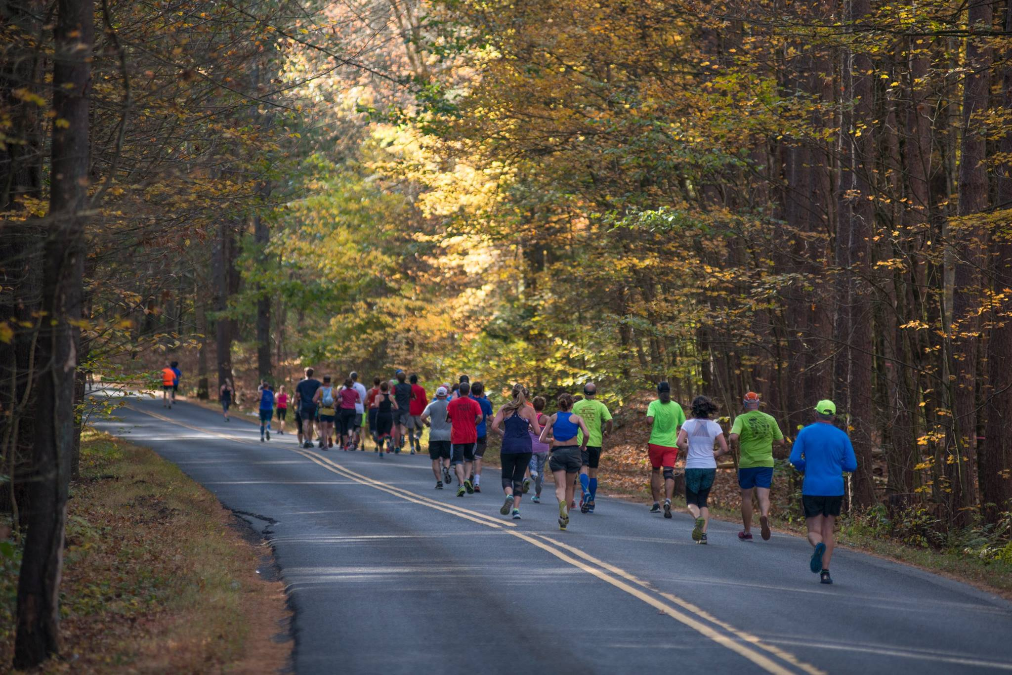 aN AWESOMELY SCENIC course - Run amongst peak fall foliage with aid stations every 2-3 miles and ports potties on course.