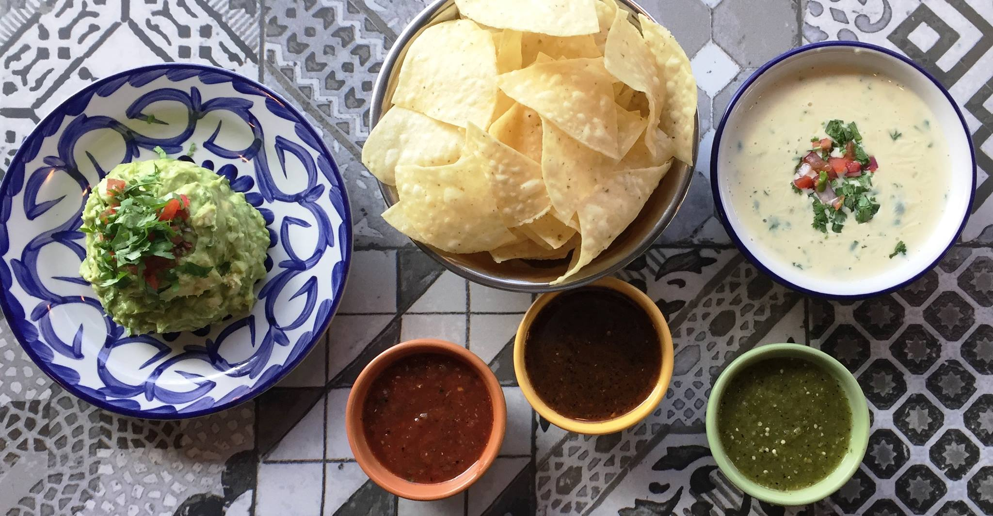 STARTERS - OUR FAMOUS QUESO AND CHIPS $4.99GUACAMOLE AND CHIPS $4.99CHIPS & ROASTED JALAPENO SALSA$2.69