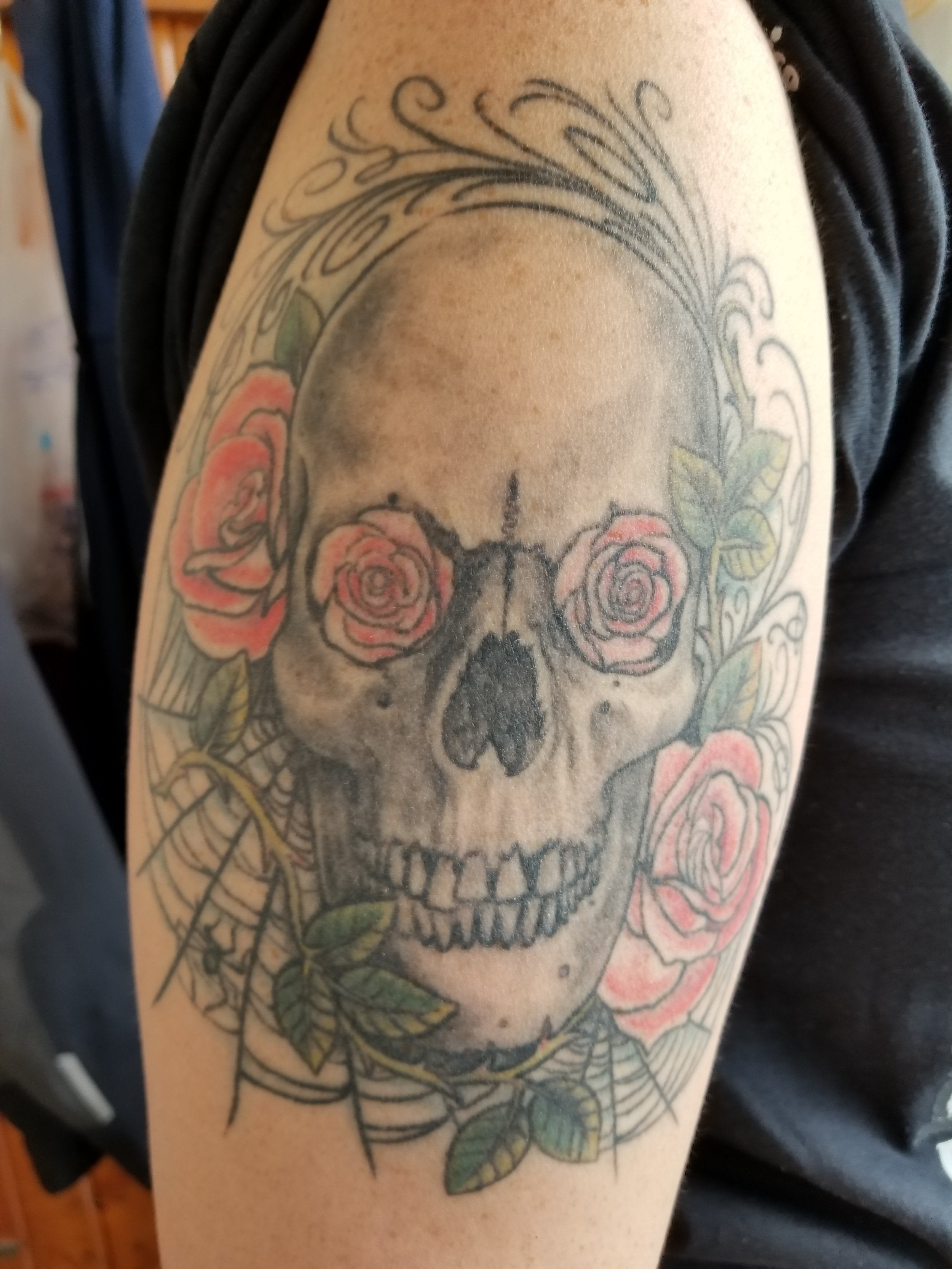 Skull, roses and spider web