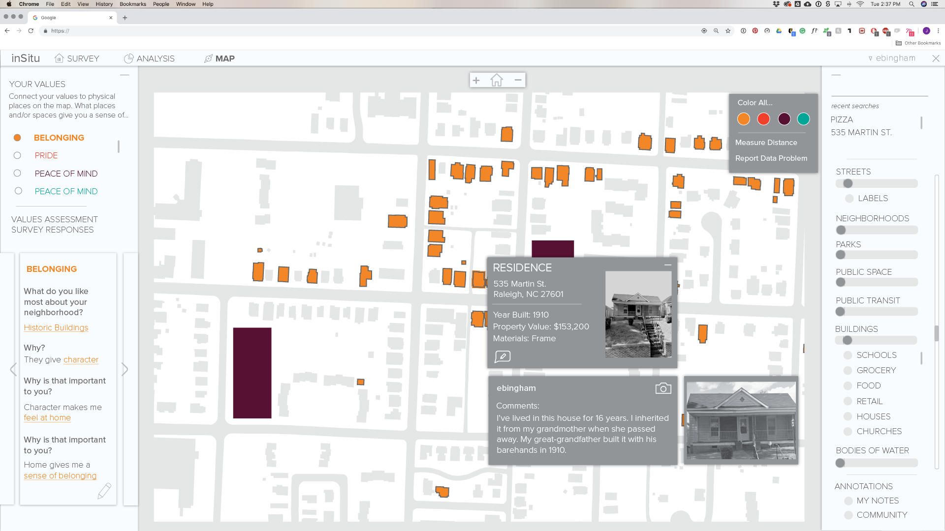 Based on their survey responses, stakeholders connect their personal values geospatially. Here they can add comments and pictures that are viewable by the entire community.
