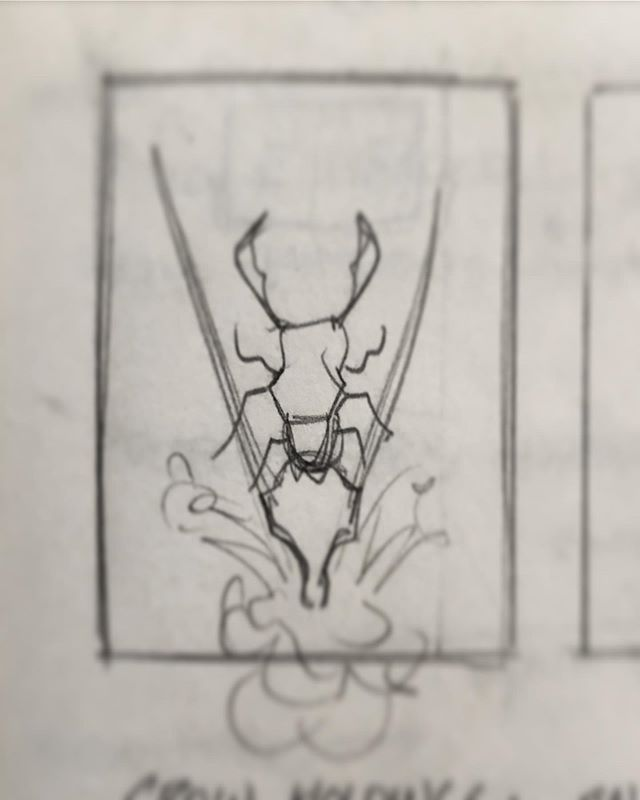 Thumbnail sketch for another inkling, this one full of beetles, horns and turkey tails.  #artofwarlick #crowns