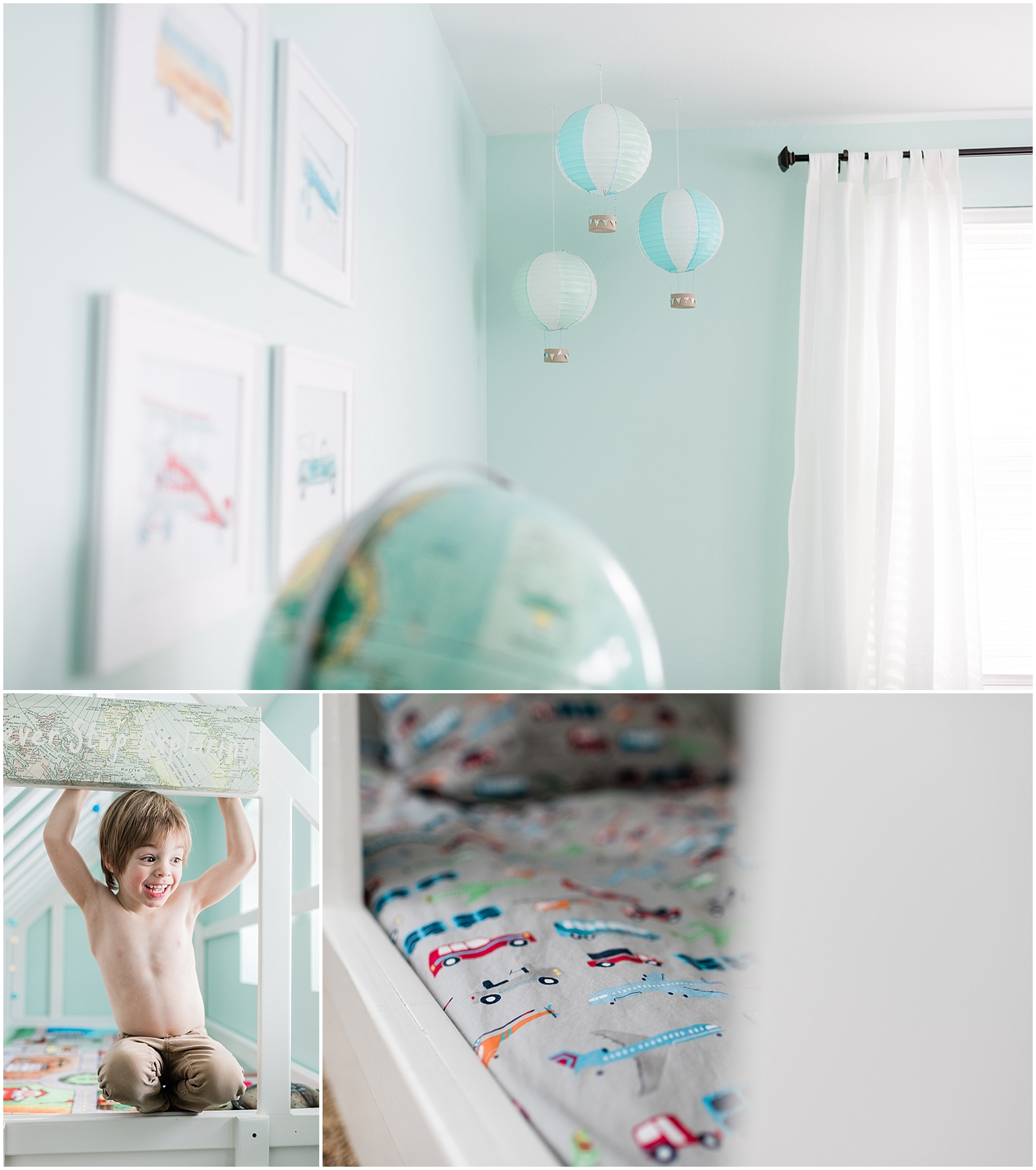 toddler bedroom, travel theme toddler room, car room, airplane room, hot air balloon, kid bedroom, kids reading corner, kids reading nook, Child's bedroom, kids bedroom, toddler boy room