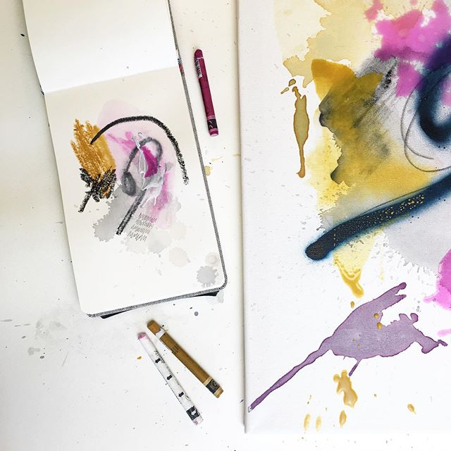 Work in progress cette après-midi dans l'atelier 🙂... #art #artwork #artprocess #processart #createmagazine #inspiredbynature #newartwork #mixedmedia #mixedmediaart #mixedmediaartist #mixedmediaartwork #emerging #emergingart #femaleartist #femaleart #watercolor #sketchbook #artbook #supplies #studioscenes #carandache #arteza #jenesieart #jenesieartstudio #happylife #lovemyjob #livepaint